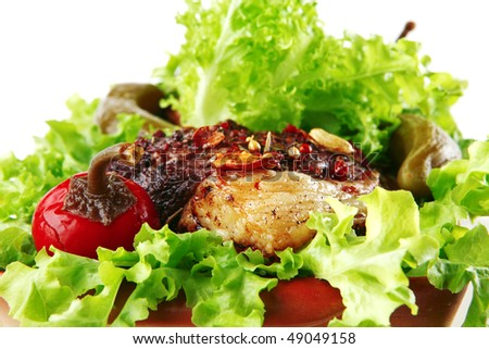 roast red beef meat served with salad