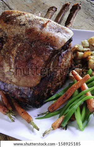 roast rib of beef - stock photo
