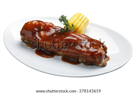 roast ribs with barbecue sauce - stock photo