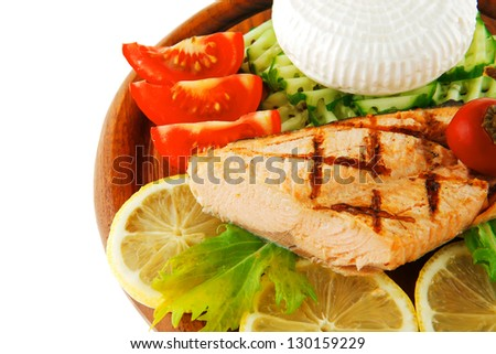roast salmon fillet with cheese and tomatoes