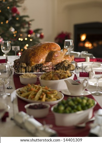 Roast Turkey Christmas Spread - stock photo
