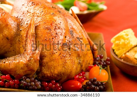 Roast Turkey stuffed with flavorful vegetables.