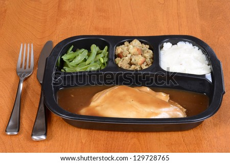 roast turkey tv dinner - stock photo