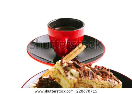 roast turkish coffee and lemon cake with chocolate - stock photo