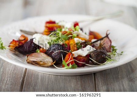 Roast vegetable and goat cheese salad - stock photo