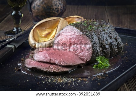 Roast Venison with Yorkshire Pudding - stock photo