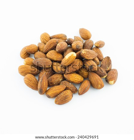 Roasted Almond in Salt, isolated on white background  - stock photo