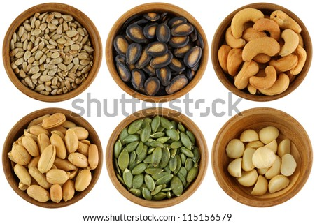 Roasted and Salted Sunflower seeds, Watermelon seeds, Cashew Nuts, Peanuts, Pumpkin seeds, macadamia - stock photo