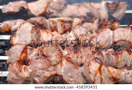 Roasted Barbecue Beef Meat Kebabs with Spice, Macro - stock photo