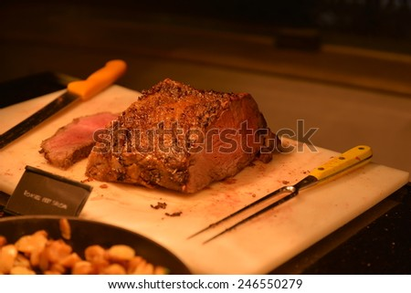 roasted beef sirloin,  Medium Rare Cooked Beef Roast - stock photo