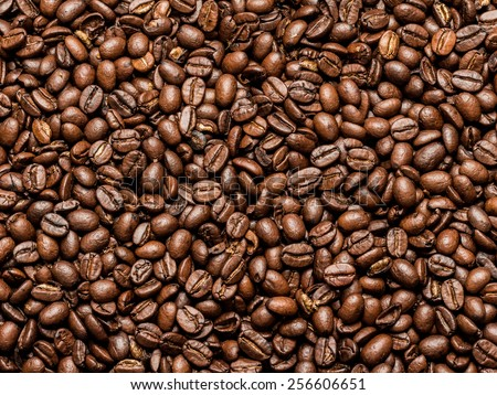 Roasted Brown Coffee Beans Background - stock photo