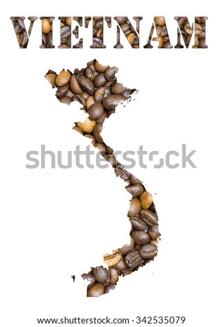 Roasted brown coffee beans background with the shape of the word Vietnam and the country geographical map outline. Image isolated on a white background.