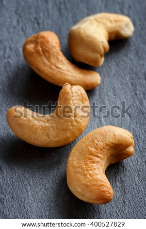 Roasted cashews close-up