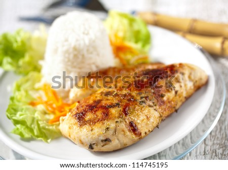 Roasted Chicken Breast with Salad and Rice - stock photo