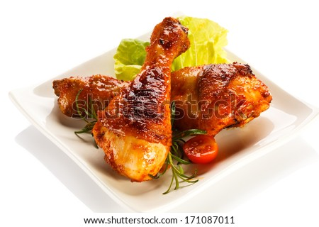 Roasted chicken drumsticks  - stock photo