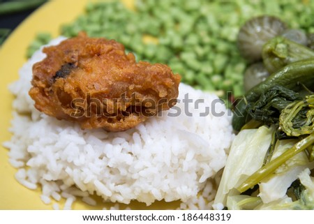 Roasted chicken drumsticks and vegetables thai. - stock photo