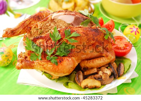 roasted chicken stuffed with liver and parsley for easter dinner