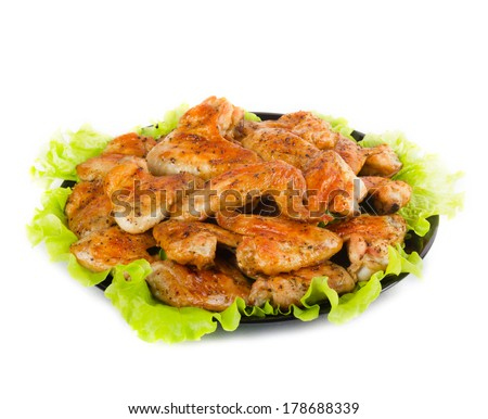 Roasted chicken wings - stock photo
