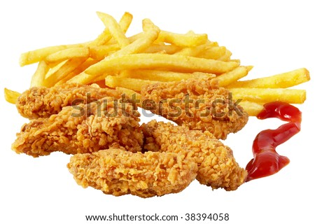 Roasted chicken wings and French fries isolated over white background - stock photo
