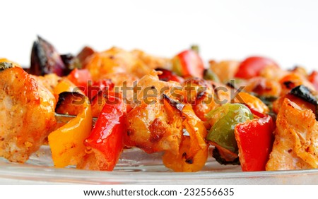Roasted chicken with capsicum and onion - stock photo