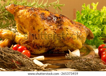 roasted chicken with herbs and vegetables