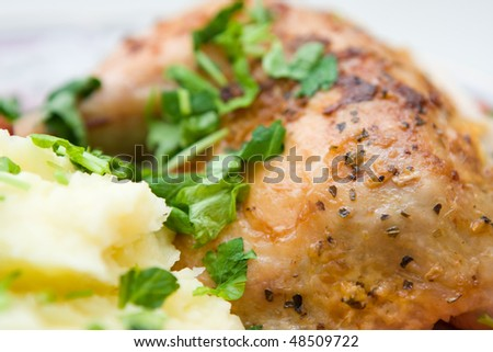 roasted chicken with mash potato close up - stock photo