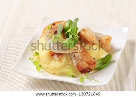 Roasted chicken with mashed potatoes - stock photo