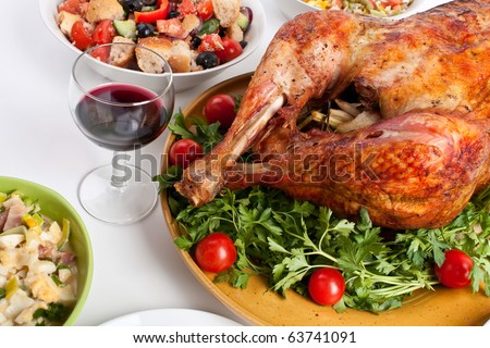 roasted christmas turkey - stock photo