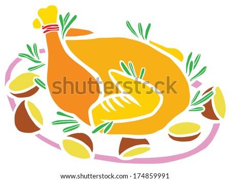 Roasted Christmas Turkey with Potatoes - stock photo
