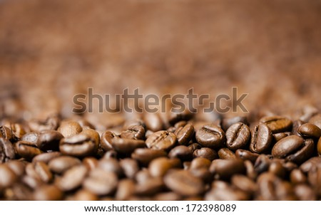 roasted coffee beans - stock photo