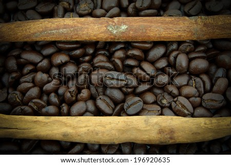 Roasted coffee beans and cinnamon