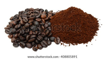 roasted coffee beans and coffee powder isolated on white background - stock photo