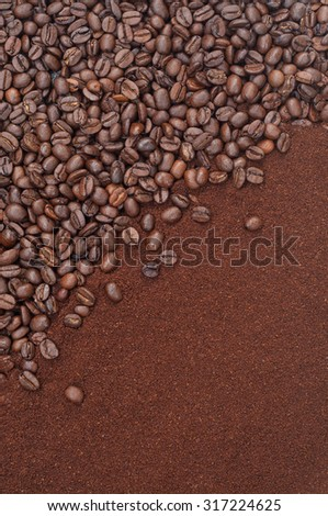 Roasted coffee beans and dark brown coffee powder for background and texture  - stock photo