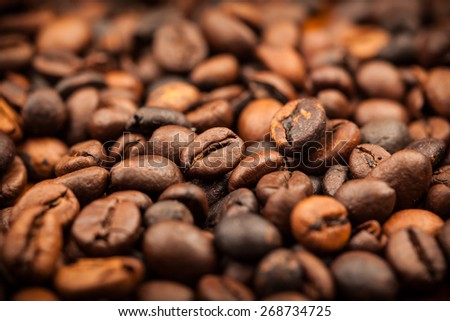 Roasted coffee beans as background - stock photo