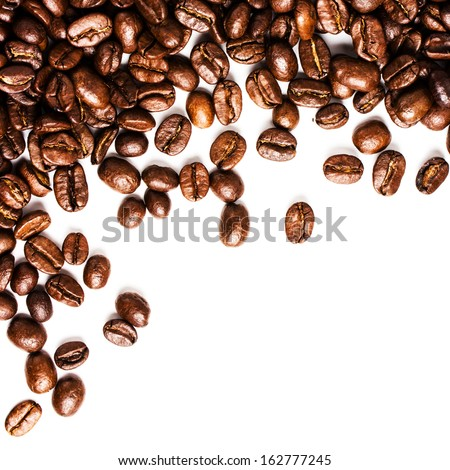 Roasted Coffee Beans  background texture isolated on white background frame with copy space for text, macro. Fragrant fried coffee beans. - stock photo