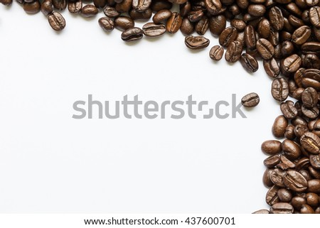 Roasted Coffee Beans background texture isolated on white background frame with copy space for text, macro. Fragrant fried coffee beans - stock photo