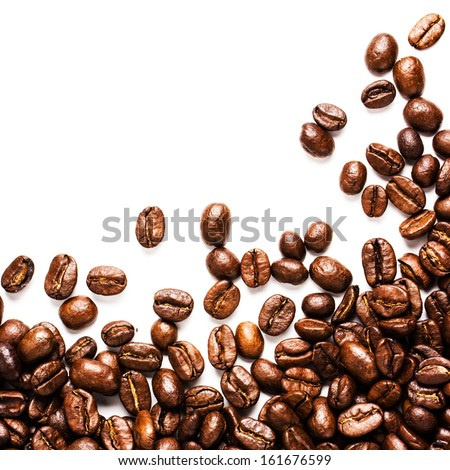 Roasted Coffee Beans  background texture isolated on white background with copy space for text, macro - stock photo
