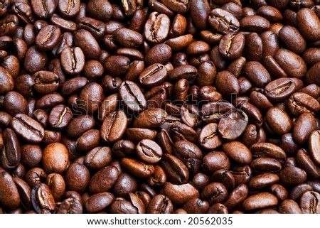 Roasted coffee-beans close up - stock photo