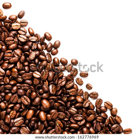 Roasted coffee beans frame isolated on white may use as background or texture. Fragrant fried coffee beans. - stock photo