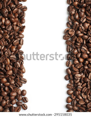 Roasted coffee beans frame on white - stock photo