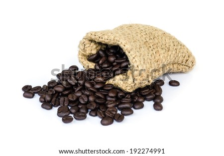 roasted coffee beans in a sack isolated on white background.