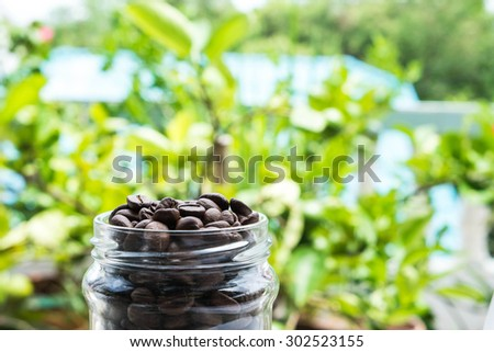 roasted coffee beans in glass bottle and blurred green background - stock photo