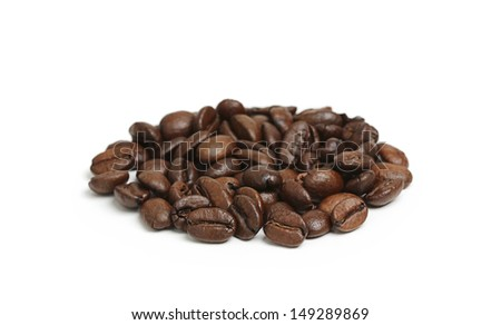 Roasted coffee beans isolated on white background. - stock photo