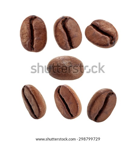 Roasted coffee beans isolated on white background with clipping path.