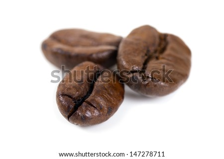 roasted coffee beans isolated on white background. with shadow - stock photo