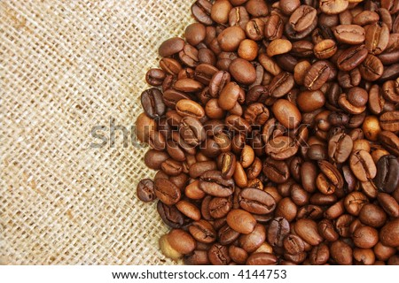 roasted coffee beans on burlap