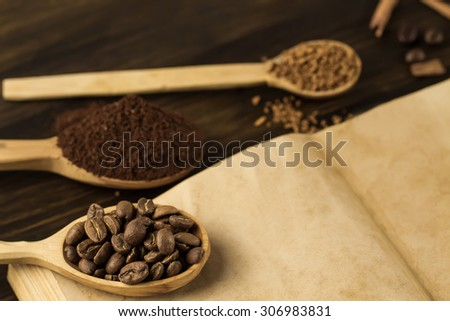 roasted coffee beans on old vintage open book. Menu, recipe, mock up. Wooden background. - stock photo