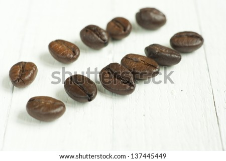 roasted coffee beans on rusty wooden table