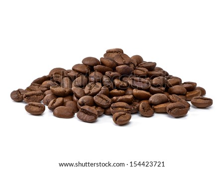 Roasted coffee beans pile on white background - stock photo