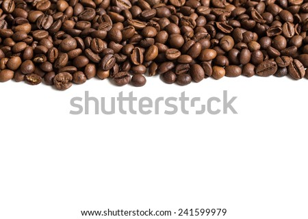 Roasted coffee beans stripe. Isolated on white background. - stock photo